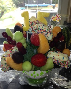 What goes great with cake? Fruit! Especially chocolate covered fruit.